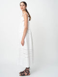 Leila Ligougne lace insets and ruffles white midi dress.