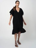 Leila Ligougne Black Silk dress with drapy sleeves