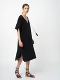 Leila Ligougne black silk kimono sleeve dress.