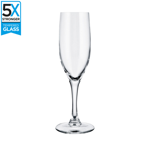 Elytium Gold Rodio Tempered Champagne Flutes (Set of 6)