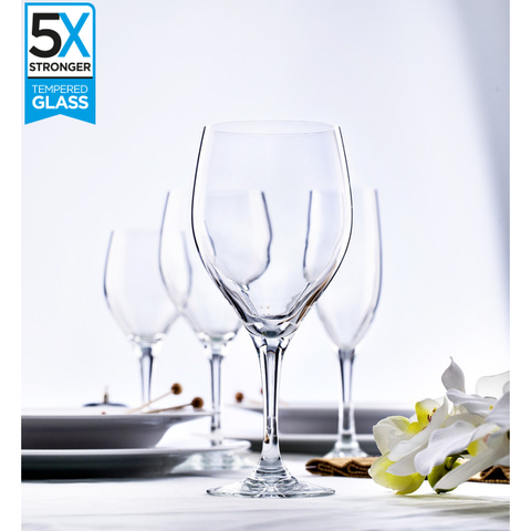 Elytium Gold Rodio Tempered Wine Glasses (Set of 6)
