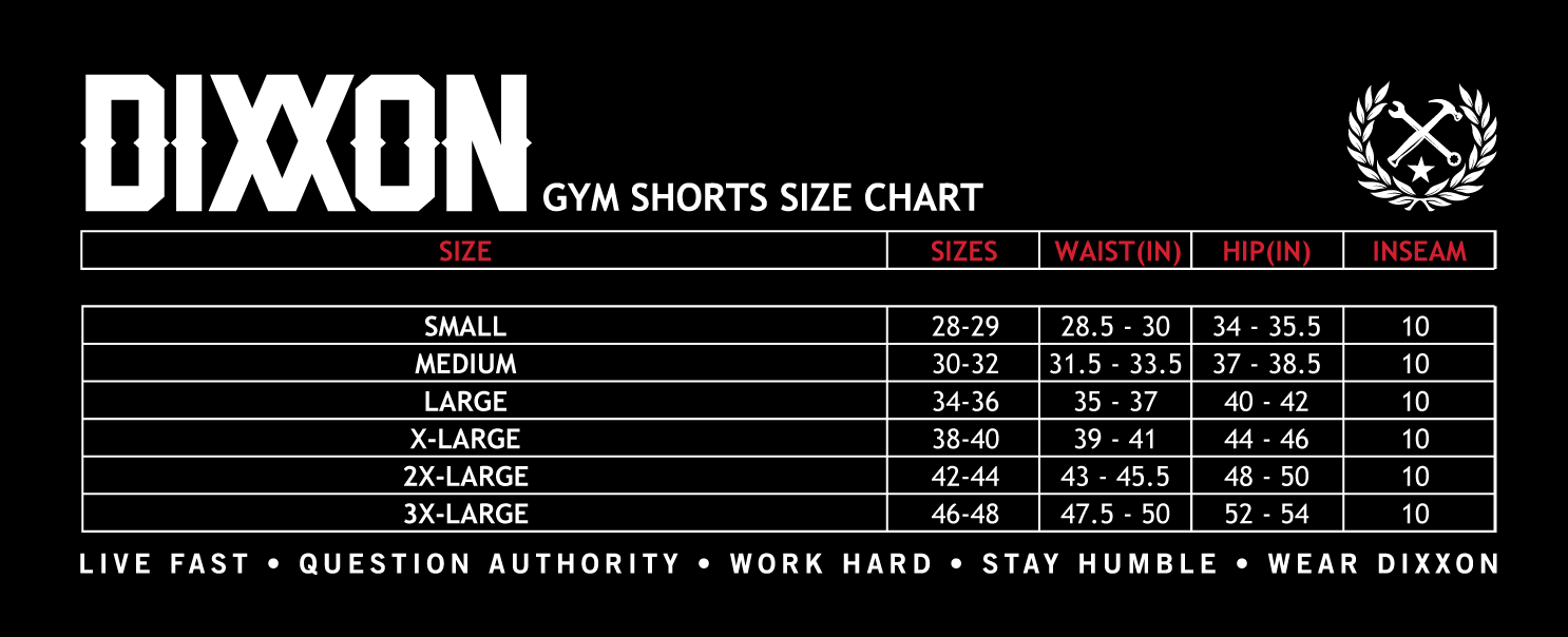 Gym Short Size Chart