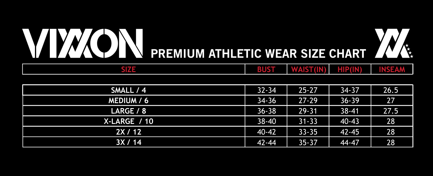 Vixxon Athletic Wear Size Chart