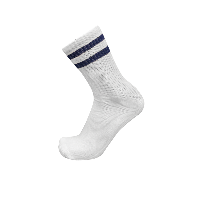 CREW White Classic Stripe Socks- 2 Stripe Navy