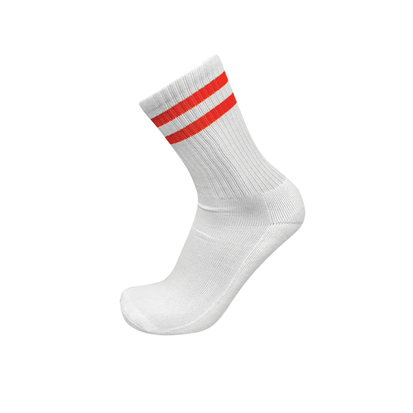 CREW White Classic Stripe Socks- 2 Stripe Red
