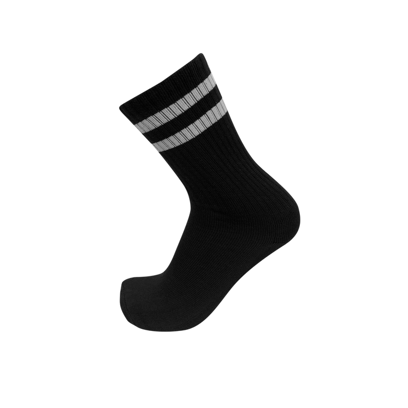CREW Black Classic Stripe Socks- 2 Stripe White