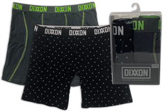 Black & Gray w/ Green Contrast Boxer Briefs - 2 Pack