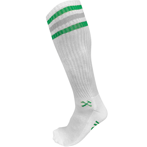 TALL White Classic Stripe Socks- 3 Stripe Green/Gray