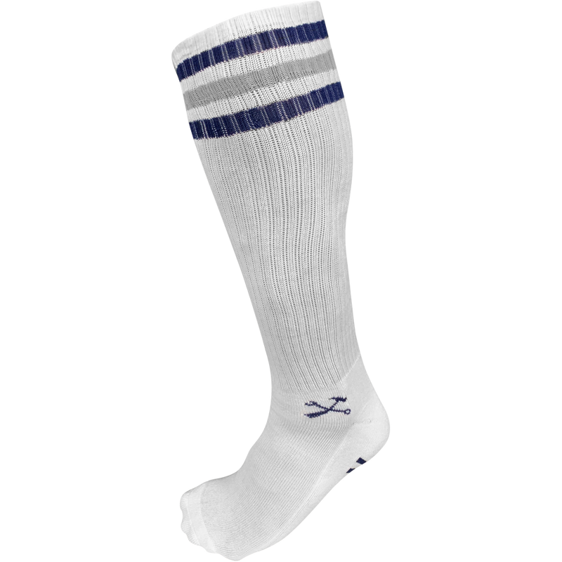TALL White Classic Stripe Socks- 3 Stripe Navy/Gray