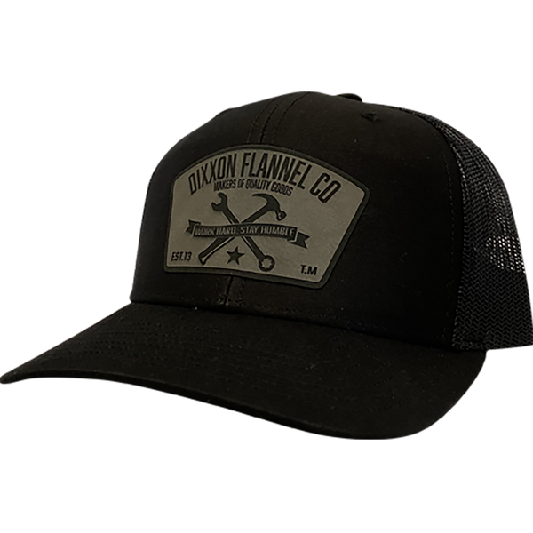 T.M. (Pre-Curved) Silver Leather Black Hat