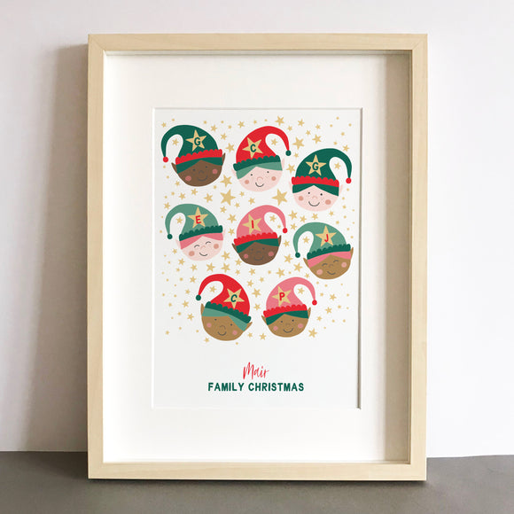 Christmas Elves Personalised Family Print