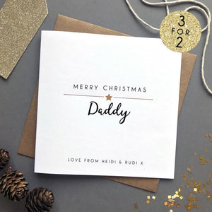 Sarah Catherine Personalised Merry Christmas Mummy Daddy Card