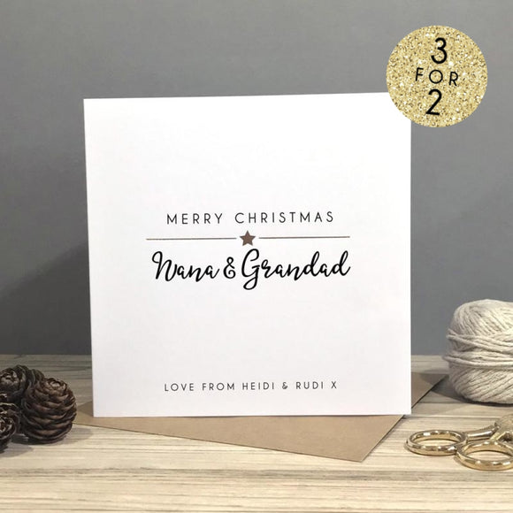 Sarah Catherine Personalised Merry Christmas Grandparent Card