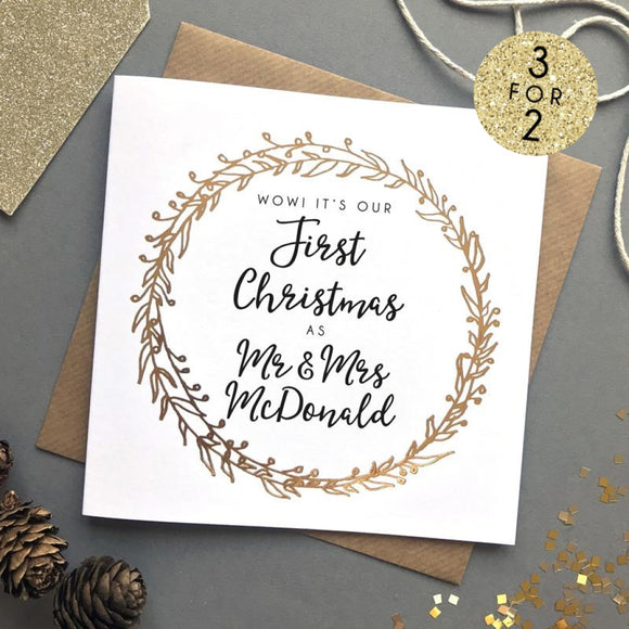 Sarah Catherine Personalised First Married Christmas Card