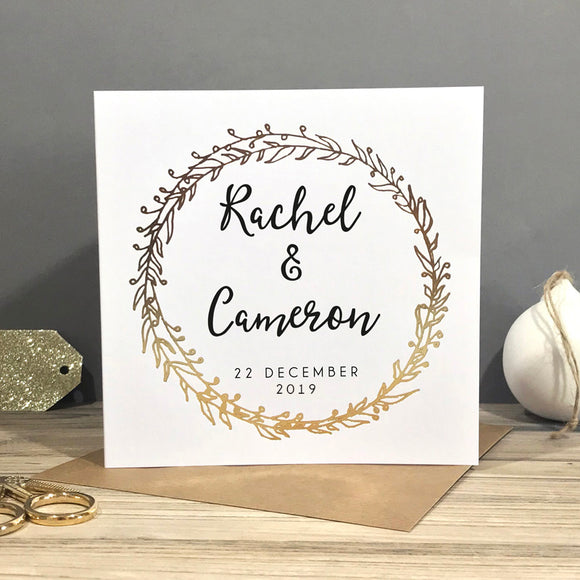 winter wedding personalised card Sarah Catherine