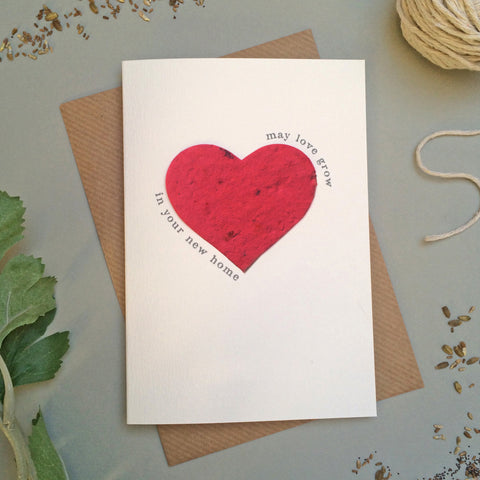 GC119 -  Plantable Heart New Home Card - 6 pack