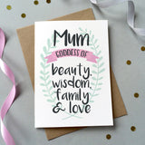 'Mum Goddess Of…' Personalised Card - Sarah Catherine