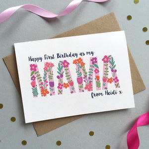 Floral 'First Birthday As Mum' Personalised Card - Sarah Catherine