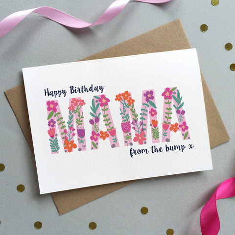Floral 'Birthday From The Bump' Card