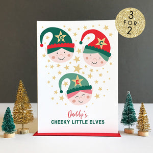 Mummy / Daddy Cheeky Elves Personalised Christmas Card