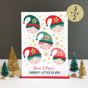 Grandparent Cheeky Elves Personalised Christmas Card
