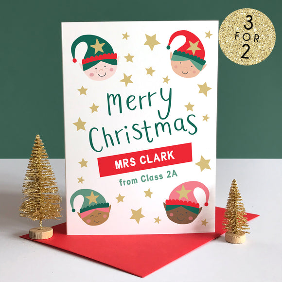 Personalised Teacher Elves Christmas Card
