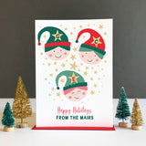 Cheeky Elves Personalised Family Christmas Card