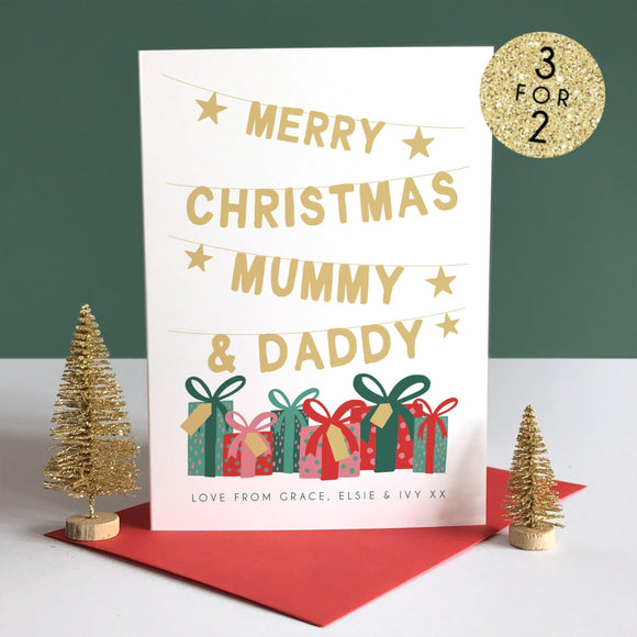 Mummy Daddy Personalised Christmas Card Sarah Catherine