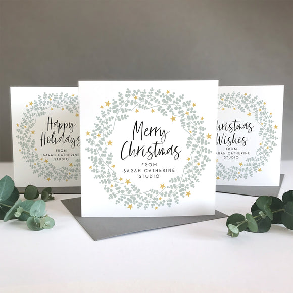 Personalised Company Eucalyptus Wreath Christmas Cards