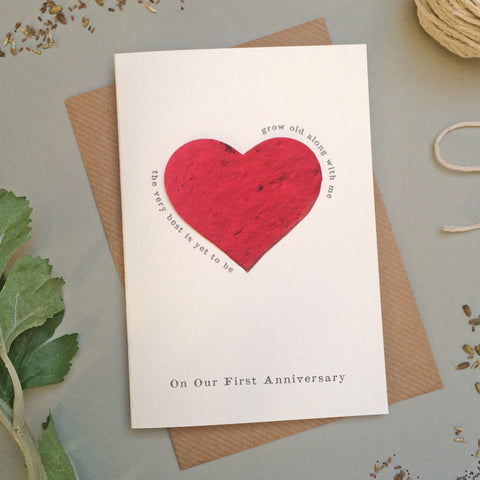 GC118b - Plantable Heart First Anniversary Card - 6 pack