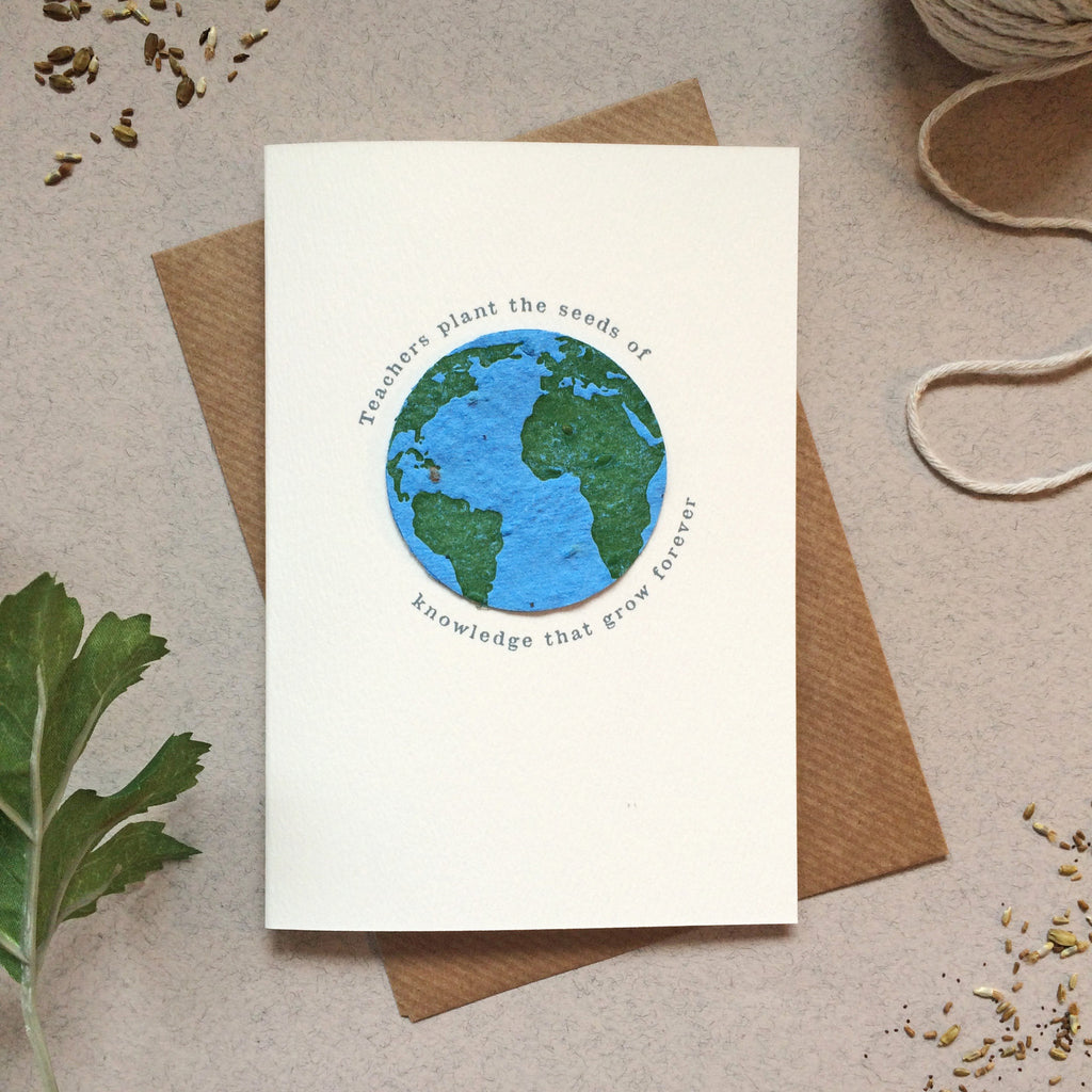 Plantable Globe Teacher Thank You Card Seeds