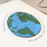 Plantable Globe Teacher Thank You Card Seeds - Sarah Catherine