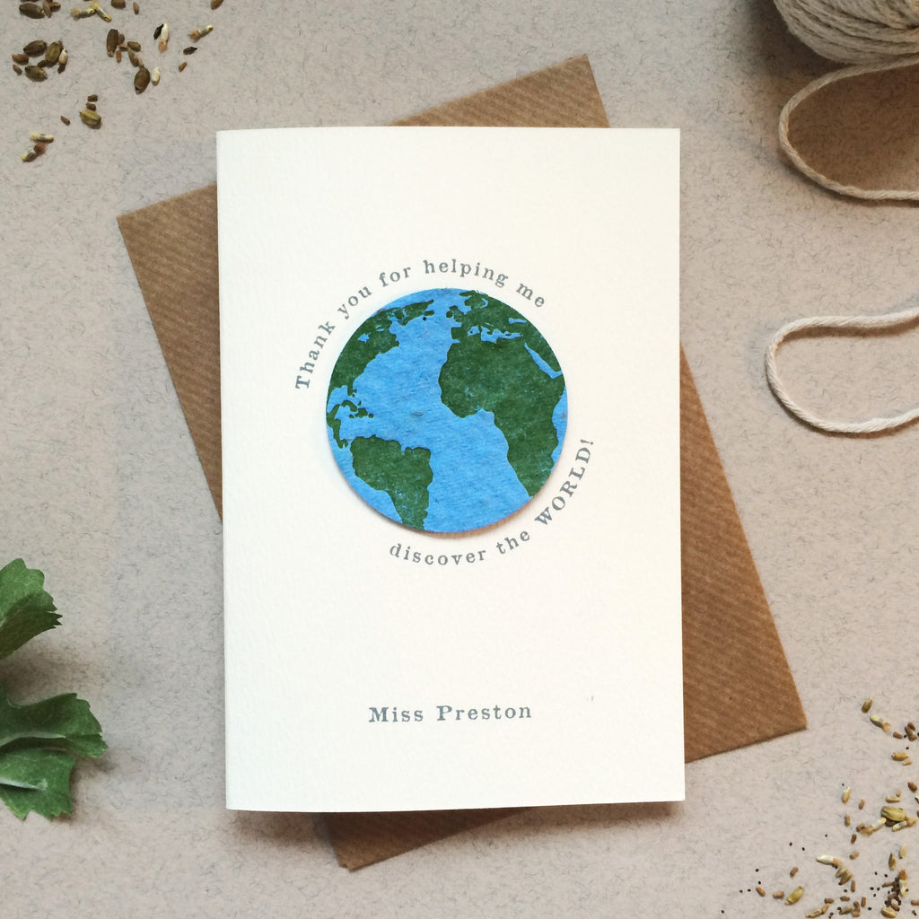 Plantable Globe Teacher Thank You Card