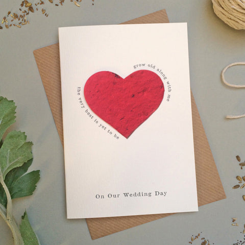 GC118a Plantable Heart 'On Our Wedding Day' Card - 6 pack