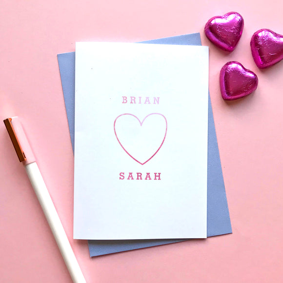 Sarah Catherine Personalised Names Valentine's Card