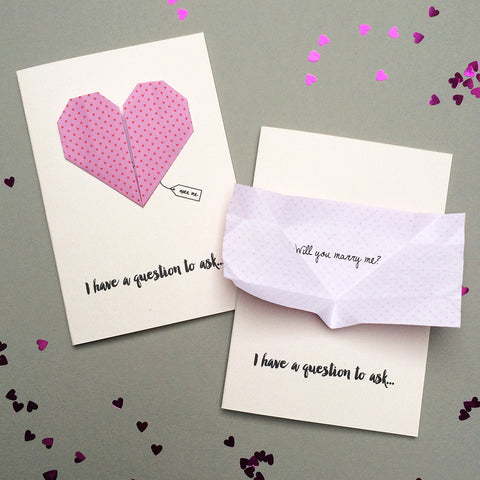 Secret Message Origami Heart Proposal Card