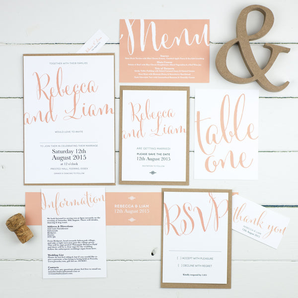 Calligraphy Script Wedding Invitations - Russet and Gray
