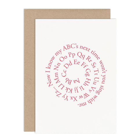 ABC Spiral New Baby Card - Russet and Gray