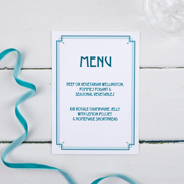 Art Deco Wedding Menu