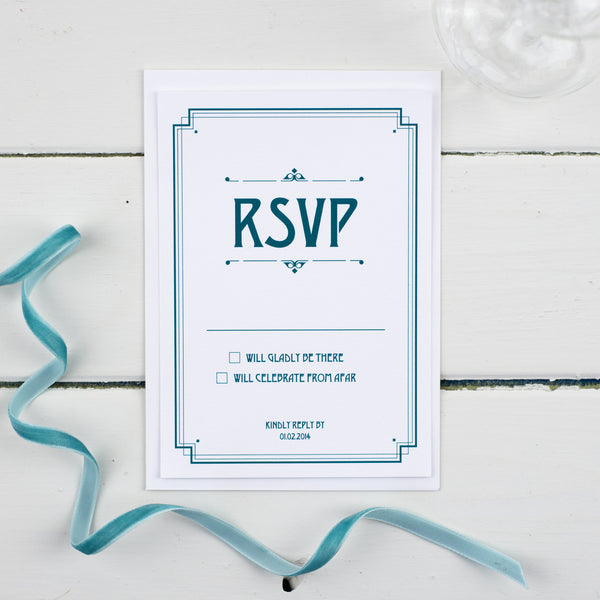 Deco RSVP Card - Russet and Gray