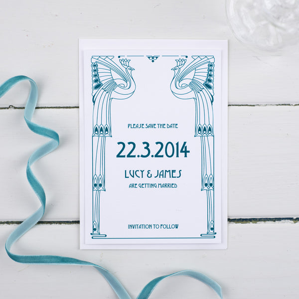 Deco Wedding Save The Date Card - Russet and Gray