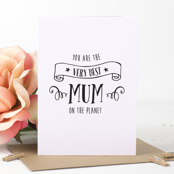 Best Mum On The Planet Card - Russet and Gray