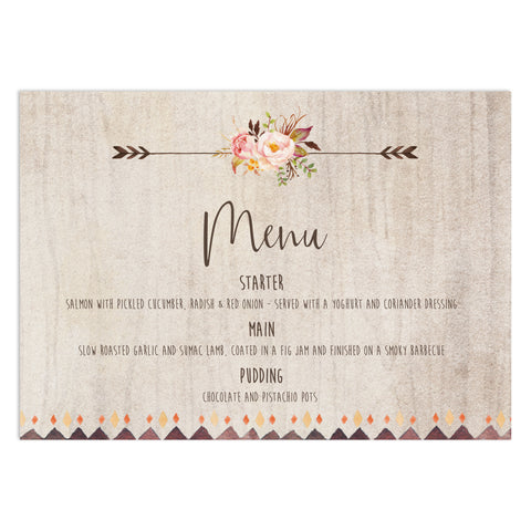 Boho Floral Wedding Menu