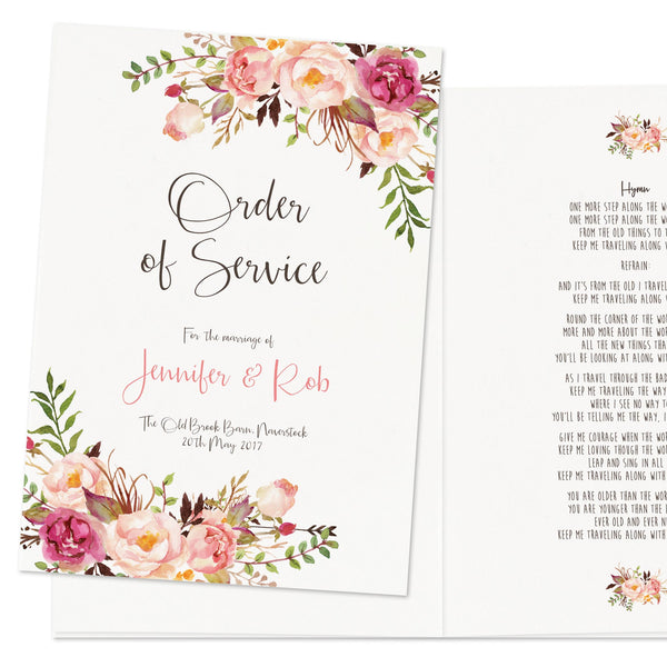 Boho Floral Order Of Service Booklet - Russet and Gray