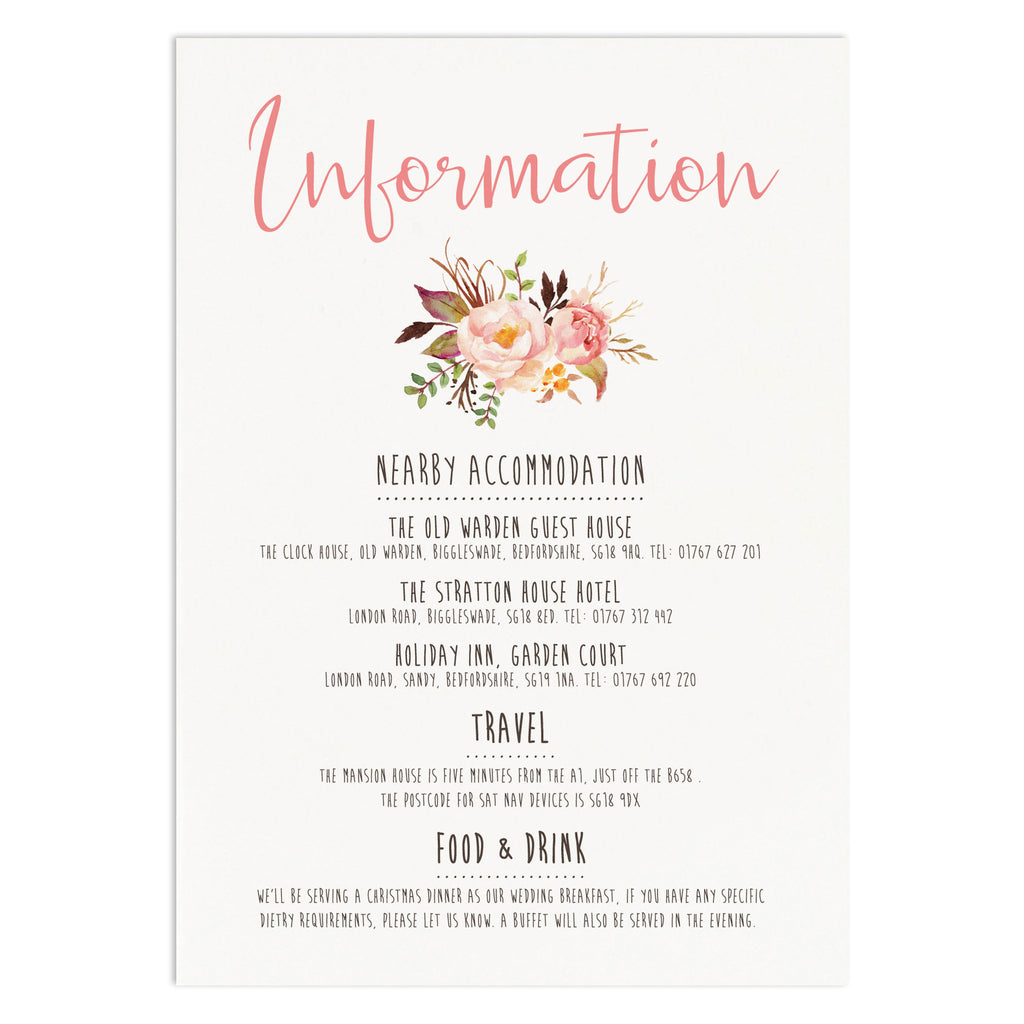 Boho Floral Information Card - Russet and Gray