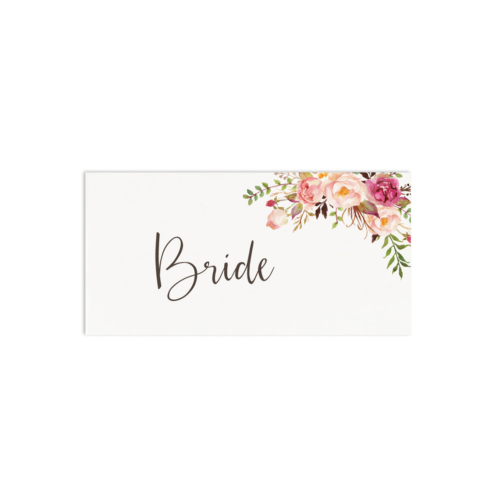 Boho Floral Place Cards - Russet and Gray
