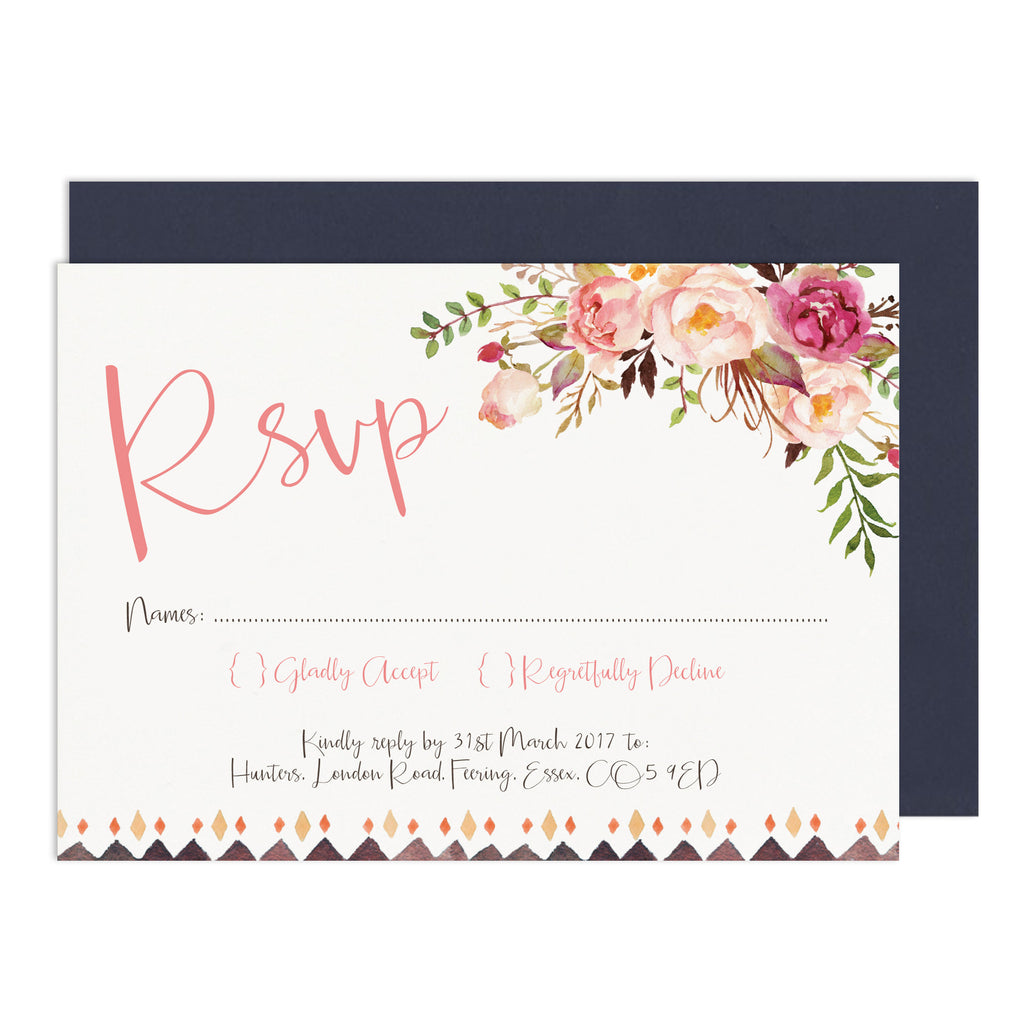 Boho Floral RSVP Card - Russet and Gray