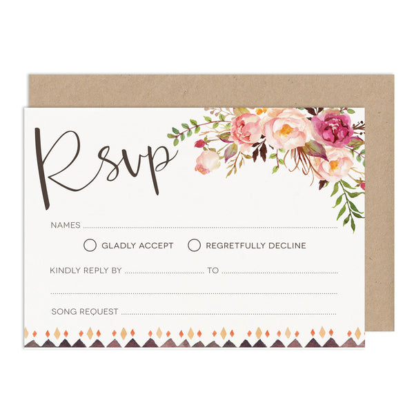 DIY Wedding Stationery Budget Wedding RSVP Floral Wedding Stationery