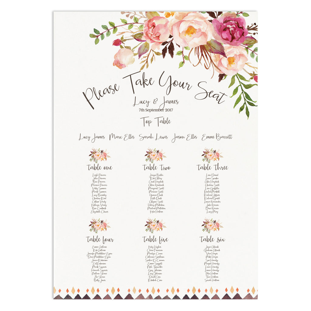 Boho Floral Table Plan - Russet and Gray