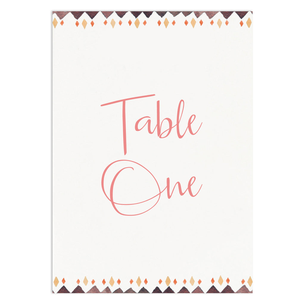 Boho Floral Table Numbers - Russet and Gray